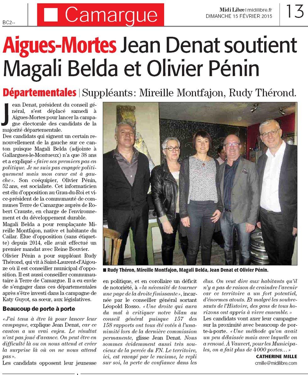 Jean Denat soutient Magali Belda et Olivier Pénin